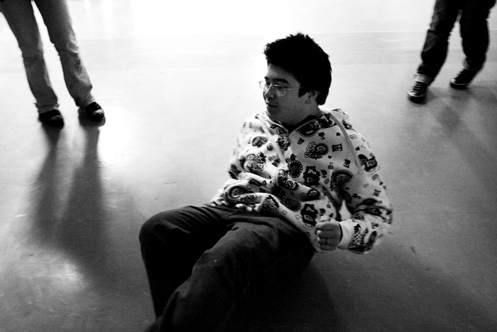 Un lycéen de Belley dans le lycée occupé, le 15 décembre 2008