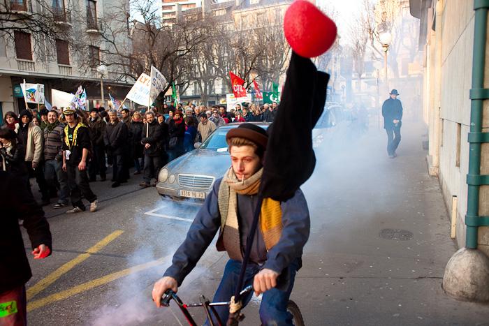 Durant la manifestation chambérienne du 29 janvier 2009