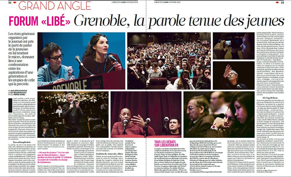 Parution dans le journal Libération du 4 février 2013. Pages 32 et 33.